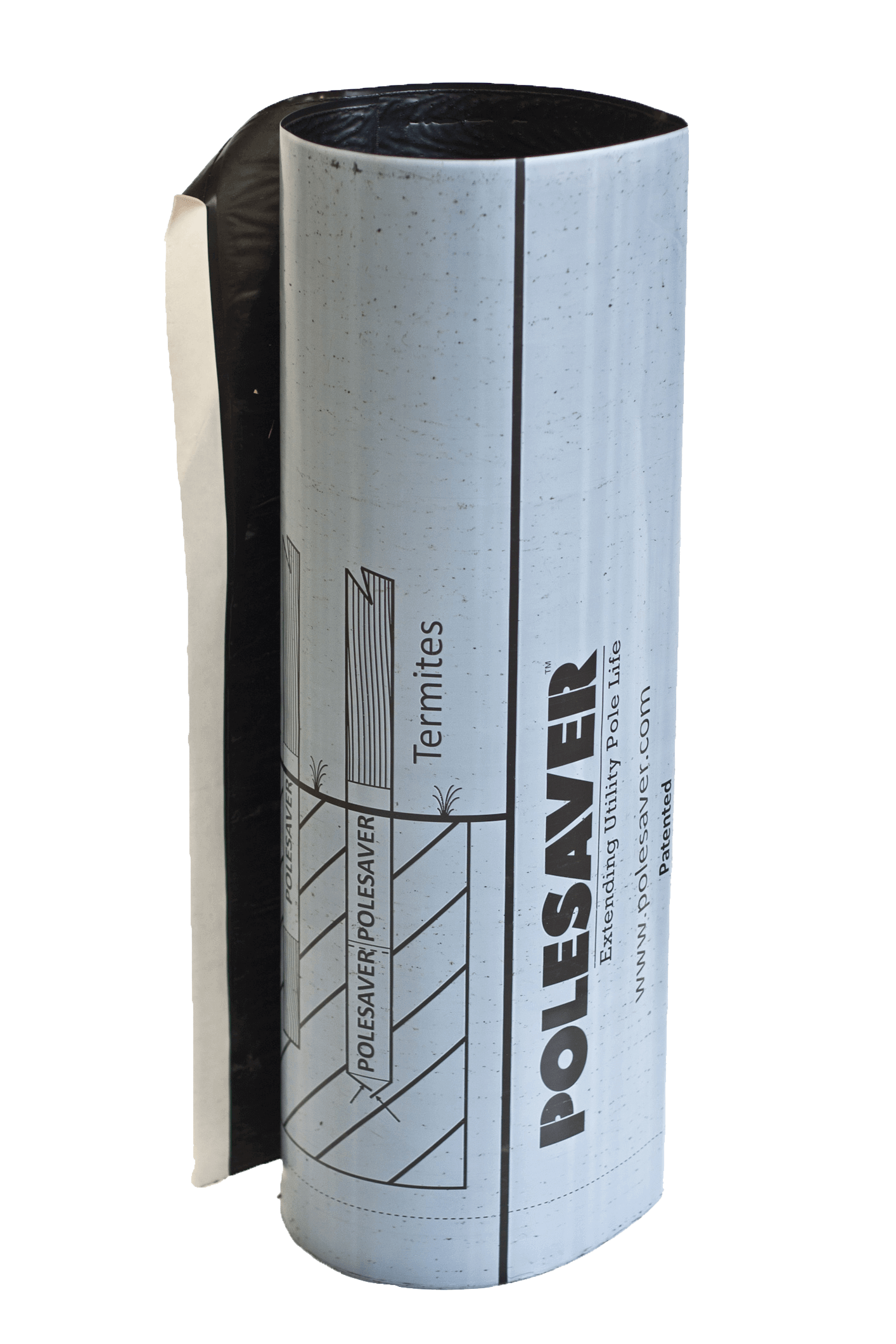 Image showing Polesaver Sleeve stood up but not on a pole. The sleeve is grey in colour, featuring a tough thermoplastic outer sleeve lined with a bituminous sealant.